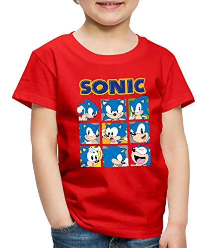 Sonic The Hedgehog Kacheln Kinder Premium T-Shirt, 134-140, Rot