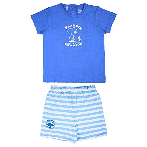 Cerdá Conjunto Bebe Niño Verano De Snoopy - 9 Meses - Camiseta + Pantalon De Algodon Ensemble de Shorts, Azul, Petit Mixte Enfant