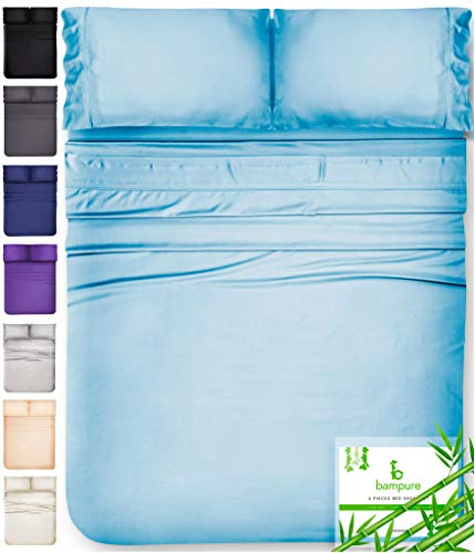BAMPURE Bamboo Sheets King Size Sheets - 100% Organic Bamboo King Sheets Cooling Sheets King Deep Pocket King Bed Sheets King Size Sheet Set King Size Bed Sheets Deep Pocket King Sheets Light Blue