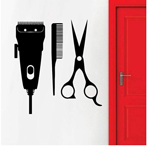 Barbershop muursticker, tondeuse patroon, wooncultuur, kapsalon, shop, vinyl, zelfklevende venster, wandtattoo 30 x 28 cm