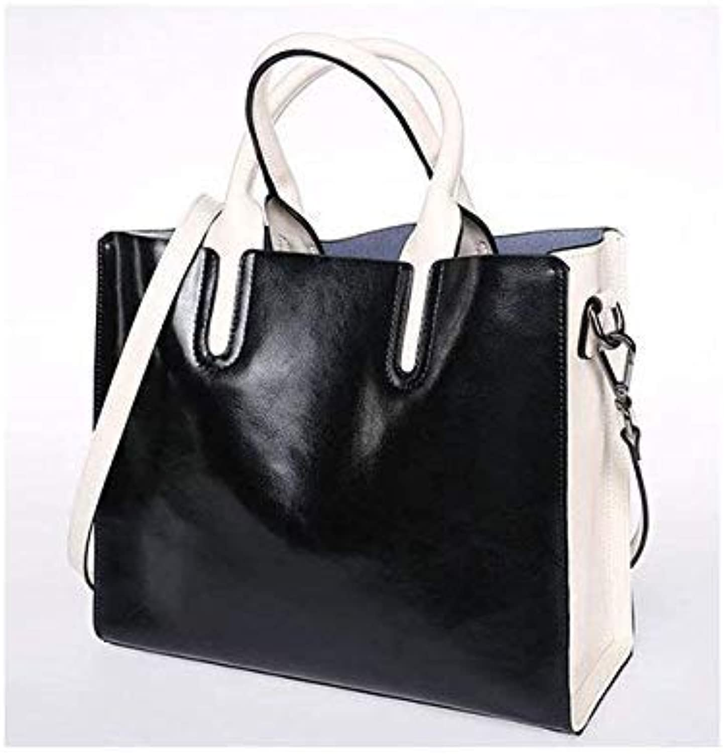 Bloomerang Hot Sale  Natural Cow Leather Crossbody Women Handbag Bags Luxury Casual Tote High Capacity Women's Shoulder Messenger Bag color Black with White