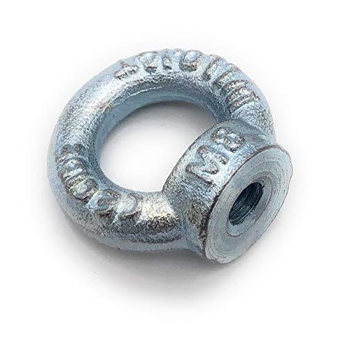 Ringmutter galvanisch Verzinkt C15 - M8-5 Stück - Traglast: 140kg [ Größe Wählbar M6 M8 M10 M12 M16] Kranöse Zurröse Ösenmutter Augenmutter ähnl. DIN 582 [M8, 5x]