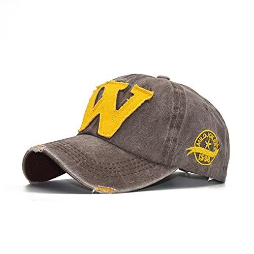 Gorra de béisbol de algodón Gorras Snapback Casquette Sombrero Desgastado con Sombrero Ajustado para Hombres Sombreros-W Light Khaki-Adjustable