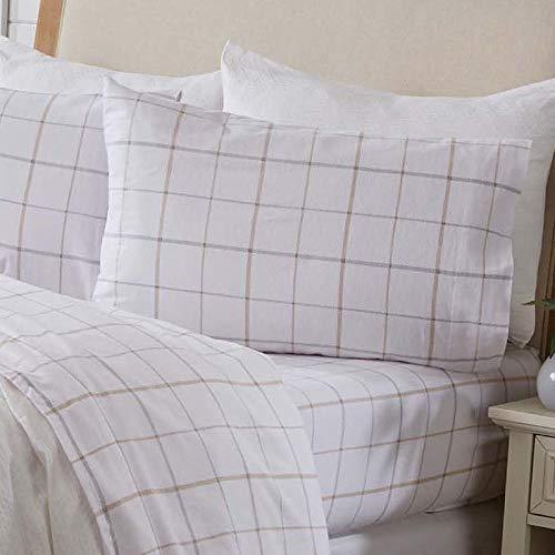 Great Bay Home 4 Piece Extra Soft Windowpane 100% Turkish Cotton Flannel Sheet Set. Heavyweight, Warm, Cozy, Luxury Winter Deep Pocket Bed Sheets....