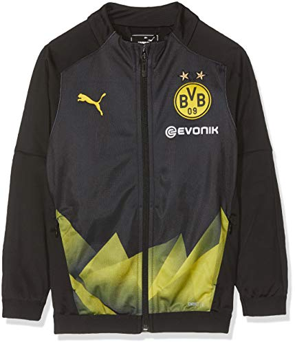 PUMA Kinder BVB Int'l Stadium Jacket Jr with Evonik Logo Trainingsjacke, Black/Cyber Yellow, 152