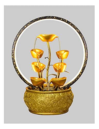 Pank Fontaine de Table en Fer forgé, Cascade à Trois pliées de Zen, Petite Fontaine intérieure, lumière LED, pour étude de Bureau Relaxation (Color : Gold, Taille : Type B)