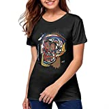 FOR Cotton Womens T Shirt Cool Woman Tops Short Sleeve Black Camisetas y Tops(Small)