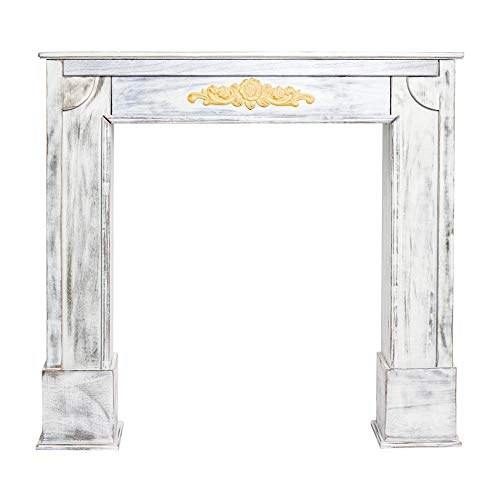 Rebecca Mobili Encadrement Decorative Shabby, Cadre Cheminee Decorative en Bois, Blanc, Design Vintage, Salon - Dimensions: 100 x 105 x 21 cm (HxLxL) - Art. RE4863