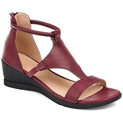 MLLM Zapatos de piscina con suela de espuma suave, sandalias de punta abierta de gran tamaño; pendiente con zapatos de mujer Roma, vino rojo, 35, secado rápido para mujeres/hombres