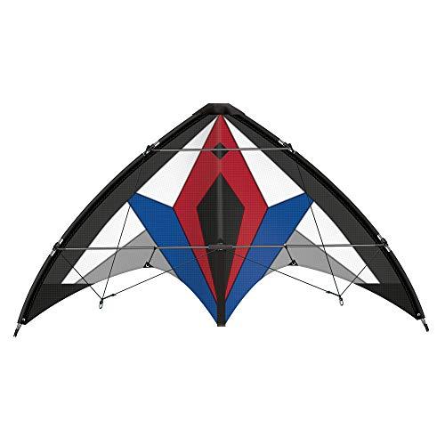 Dynamische sportstuurdrak Flexus 150 GX, draak voor gevorderden, scheurvast zeil van ripstop-polyester en glasvezelstokken, met zwenkwielen en handleiding, ca. 150 x 65 cm groot.