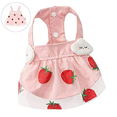 Dog Dresses Skirt Cat Supplies Clothing, Pink Spring Summer Apparel Doggie Sundress with Strawberry Tulle, Pet Vest Princess Tutu Costumes Shirt for Small Dogs Girl Chihuahua Yorkie Teacup Pomeranian