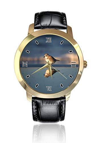 Gregarious Wading Bird Plover orologio da polso analogico al quarzo unisex con cinturino in pelle