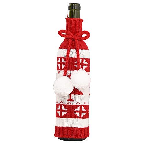 FINIVE Christmas Knitting Wine Bottle Cover Elk Snowflake Printing Wine Bottle Case Drawstring Bottle Bag Xmas Dinner Decor Tree Pattern