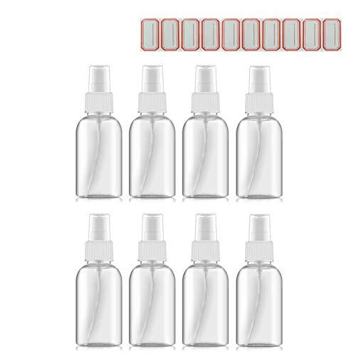 8pcs Bote Spray Pulverizador (50ML) Botes de Plastico Transparentes de Botlla Viaje Avion y Bote Spray Recargable Pequeño Portátiles para Rellenar Gel