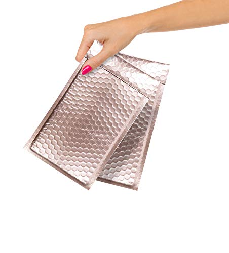 ABC Pack of 20 Metallic Rose Gold Bubble Mailers 4x8. Rose Gold Padded Envelopes 4 x 8. Rose Gold Mailers. Peel and Seal Envelopes. Shipping Bags for Mailing Packing Packaging. Wholesale Price