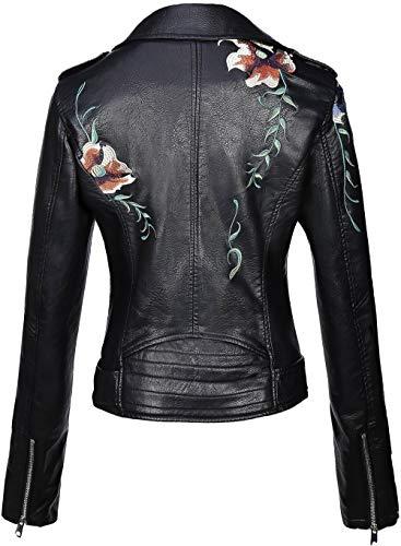 Giolshon Chaqueta Corta de Piel sintética para Mujer, Abrigo Floral Informal de Moto XX-Grande