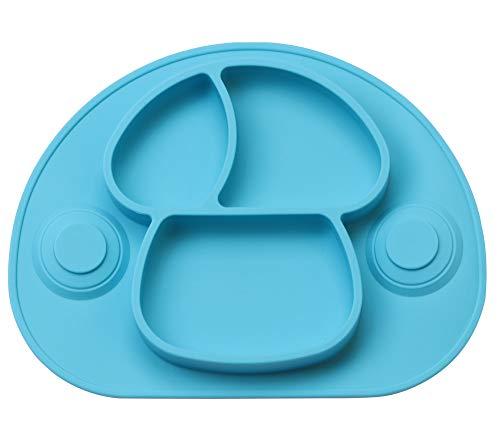 DEBAIJIA Bebé Niños Plato de Silicona Fuerte Succión Ventosa Divididas Placemat Grado Alimenticio Infantil Antideslizante FDA y Sin BPA, Microonda, Lavavajillas, Congelador Seguro - Azul claro