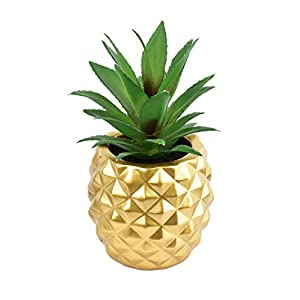 """Silk Flower Arrangements LSKYTOP Artificial Pineapple Succulent Potted - 7"""" Height Faux Succulent Plant Fake Pineapple for Home Office Table Decoration (Gold, 1)"""