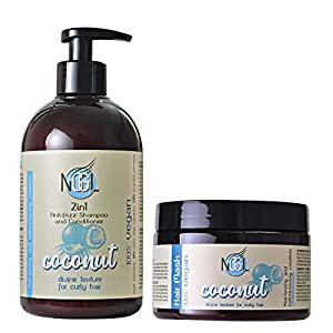 NGGL Vegan Premium Hair Spa with 100% natural Coconut oil Anti-frizz; 2-in-1 Shampoo and Conditioner 500ml and Hair and scalp mask 350ml