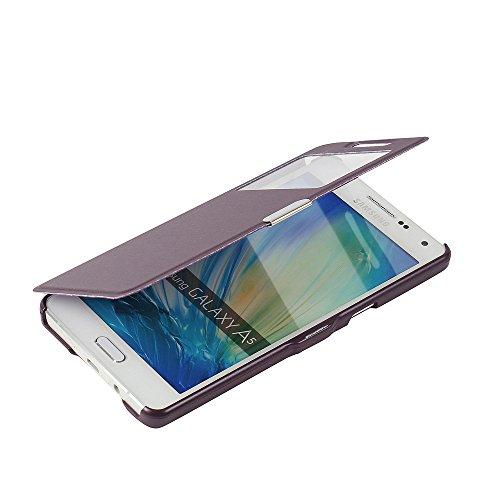 MTRONX para Funda Samsung Galaxy A5 (2015), Cover Case Carcasa Caso Ventana Vista Ultra Folio Flip Delgado PU Cuero con Cierre Magnetico para Samsung Galaxy A5 (2015) - Morado(MW-PP)