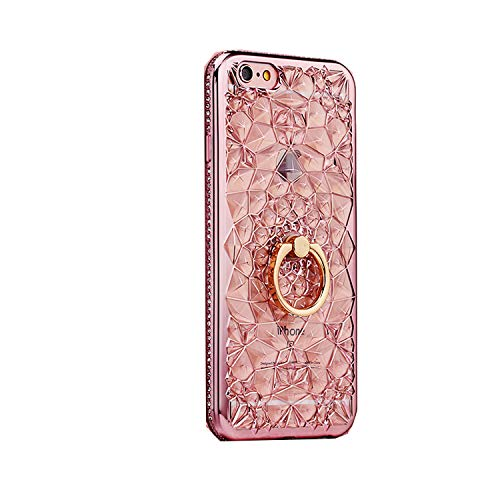For iPhone 11 Pro X XS MAX XR 6 7 8 Plus Case Luxury 3D Soft Silicon Ring Stand Capa For Samsung S8 S9 Note10 9 Rhinestone Cover-Pink-For iPhone 11(6.1)