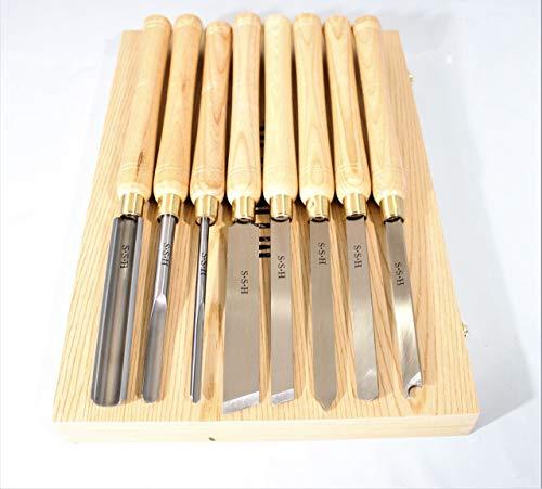 HSS-Qualitätsstahl 8-teilig mit den gängigsten Sorten Schüsseldrehröhre, Drehmeißel, Formröhre, Flachstahl, Abstecher und Ringdreheisen zum Drechseln Drechselbeitel mit Holzgriff in Holzbox