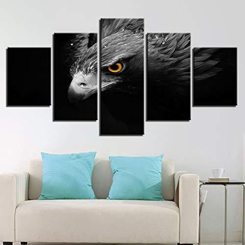 TBDZPS 5 Paneles Vászon Poszter Wall Art Lakberendezés Szürke SAS Varjú...