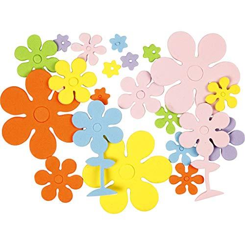 EVA-Schaumstoff-Formen, Größe 10-60 mm, Stärke 2 mm, verschiedene Farben, Blumen, 100asstd