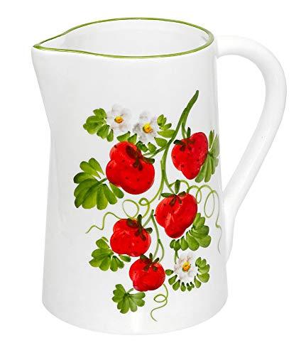 Lashuma Keramik Krug Höhe 19 cm, Wasserkanne mit Henkel, Teekrug Design Walderdbeeren, Füllmenge: 1,5 l