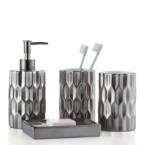 YYW - Juego de accesorios de baño de cerámica, juego completo de accesorios para encimera, incluye jabonera y dispensador de loción (4 piezas)