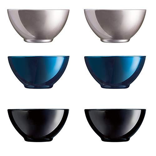 Luminarc Flashy Set 6 bol desayuno cereales de vidrio para microondas 50cl, Negro
