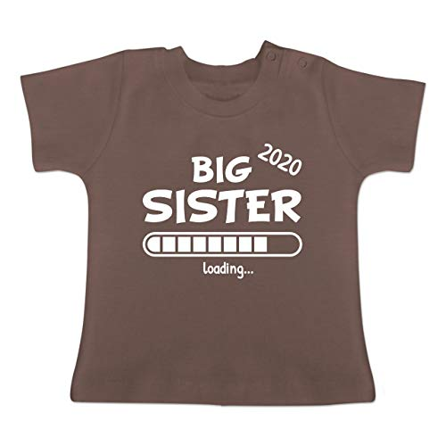 Geschwisterliebe Baby - Big Sister Loading 2020-6/12 Monate - Braun - Big Sister - BZ02 - Baby T-Shirt Kurzarm