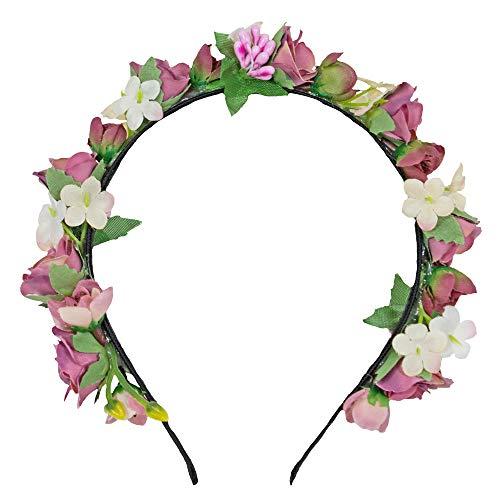 Trachtenland Blumen Haarreif Sabia - Bezaubernder Haarschmuck zum Dirndl, für Hochzeiten, Kommunion oder Festivals (Einheitsgröße, Altrosa Creme)
