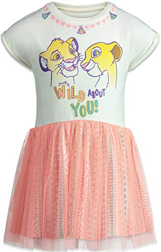 Disney Lion King Toddler Girls Short Sleeve Dress Tulle Skirt White/Pink (5)