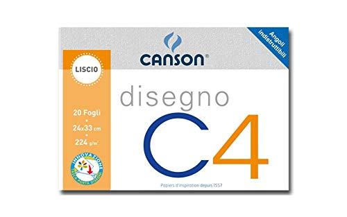 Canson 530984 - Album a 4 Angoli, Disegno C4, Liscio, 20 Fogli, 200 G/Mq, 24x33 cm
