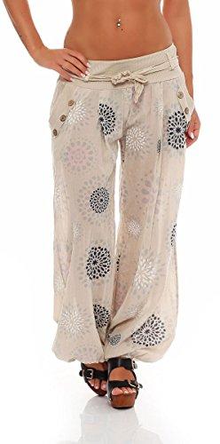 Malito Harem Pantaloni con Estivo Print Boyfriend Aladin Sbuffo Pantaloni Pump Baggy Yoga 3481 Donna Taglia Unica (Beige)