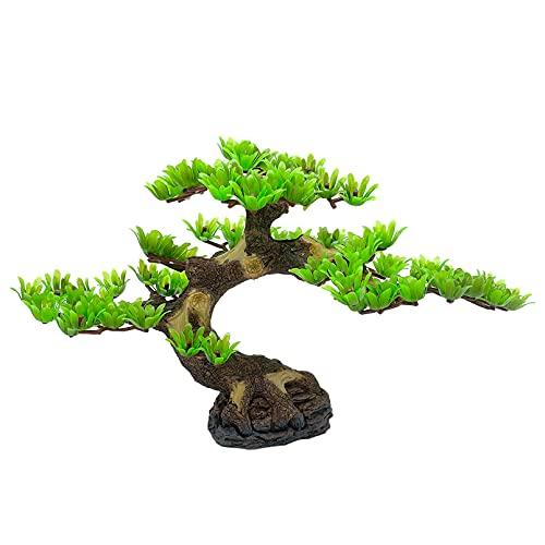 Hamiledyi Aquarium Plant Artificial Pine Tree Plastic Plant Decor for Aquarium Fish Tank Bonsai Ornament, Green