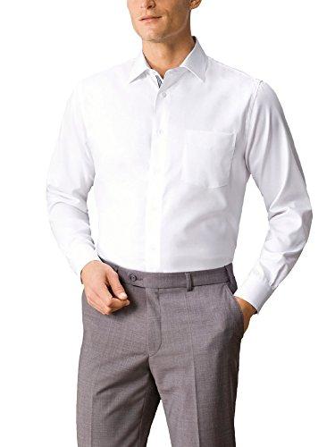 Walbusch Herren Hemd Bügelfrei Strukturhemd einfarbig Weiß 47/48 - Langarm