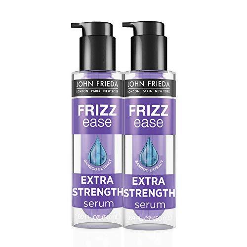 John Frieda Soro de força extra Frizz Ease, tratamento nutritivo para cabelos secos, danificados, frizz, controle de frizz e protetor térmico com extrato de bambu, 50 ml (pacote com 2)