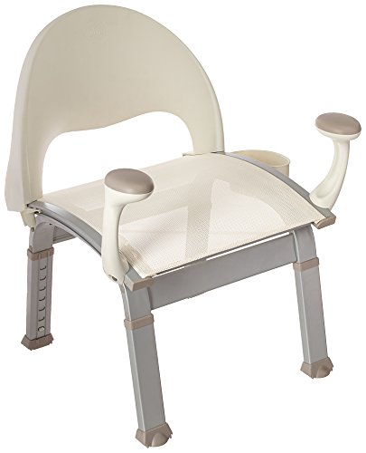 Moen DN7100 Home Care Premium Adjustable Bath Safety Shower Chair with Back and Arm Rests, Glacier