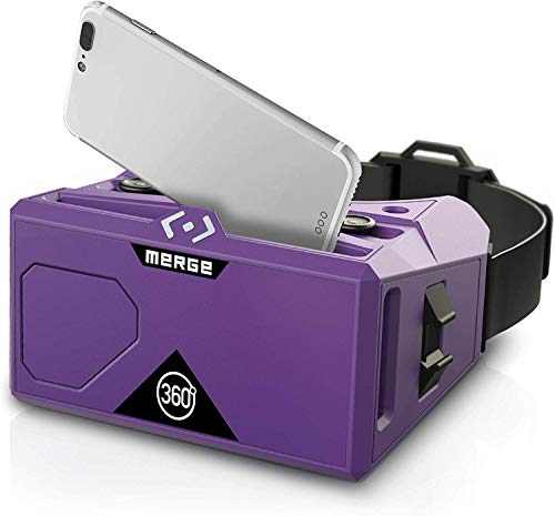 Merge VR Headset - Augmented Reality and Virtual Reality Headset, Play Educational Games and watch 360 Degree Videos, STEM Tool for Classroom and Home, Works with iPhone and Android (Pulsar Purple)