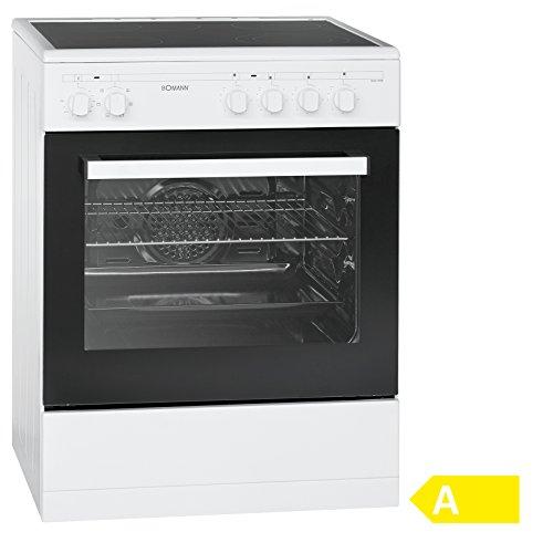 Bomann EHC 3558 freistehender Elektroherd 60 cm, EEK A, 57 L, 4 Highlight Kochzonen, Heißluft, Backofen, Glas-Keramik-Kochfeld