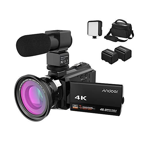 Andoer 4K Camcorder 1080P 48MP WiFi Digitalvideokamera IR Nachtsichtgerat 16X Digitalzoom mit 039X Weitwinkel Makroobjektiv externes Mikrofon LED Videolicht Kameratasche