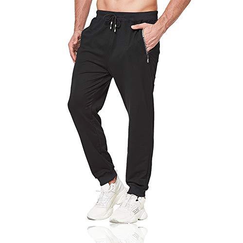Tansozer Jogginghose Herren Baumwolle Sporthose Männer Lang Trainingshose mit Reißverschluss Taschen Schwarz M