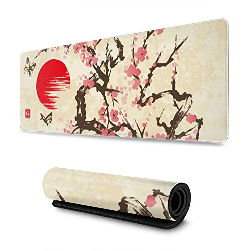 Japanese Sumi-E Sakura Cherry Blossom with Butterflies Gaming Mouse Pad, Long Extended XL Mousepad Desk Pad, Large Non-Slip Rubber Mice Pads Stitched Edges, 31.5'' X 11.8''
