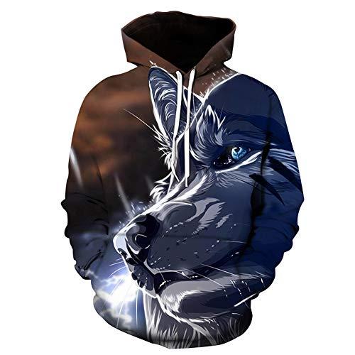 Mr.BaoLong&Miss.GO Suéter Personalizado para Hombre Suéter De Lobo Suéter Deportivo con Capucha Sudadera De Moda para Hombre
