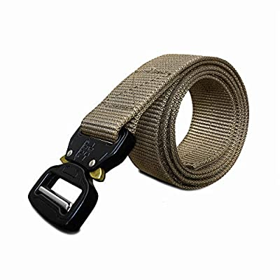 WOLF TACTICAL Quick-Release EDC Belt - Tactical Military 1-Ply Nylon Web Belt for Outdoor Sports Adventures Emergency Rescue Hunting Wilderness Concealed Carry CCW Holsters (Tan, XL (40-45))