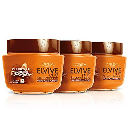 Elvive L'Oréal Paris Elvive Maschera Nutriente per Capelli Secchi o Spenti Olio Straordinario, 3 Confezioni da 300 ml [900 ml]