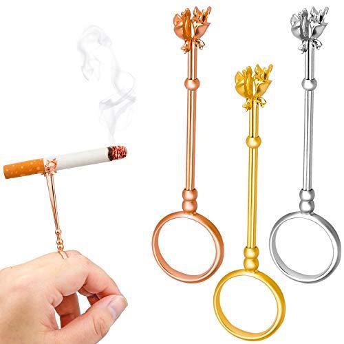 3 Piezas Anillo para Fumadores 3 Pulgadas Anillo de Soporte de Cigarrillo, Anillo Porta Cigarrillos de Elegante y Práctico, Metal Dedo de Cigarrillo Anillo para Amantes del Juego Hombres y Mujeres