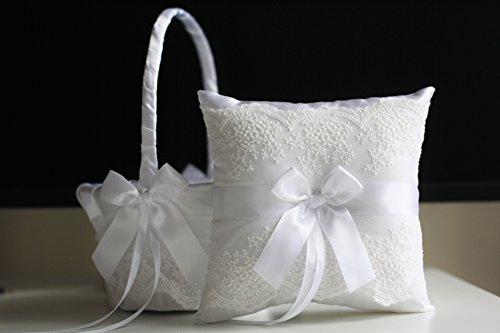 Alex Emotions White Flower Girl Basket & Ring Bearer Pillow Set Lace Collection | White Ring Holder | White Wedding Basket